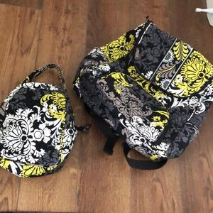 Vera Bradley backpack with lunchbox